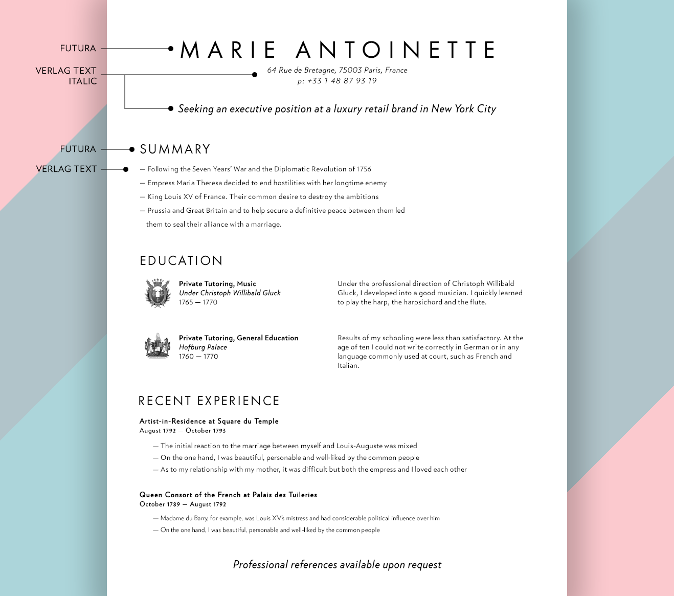 ... And Try Not To Load The Page Up With Text. They Also Pair Very Nicely  With Didone Serifs, Like HTF Didot. Here Are A Couple Of Examples For  Inspiration:  Fonts To Use On A Resume