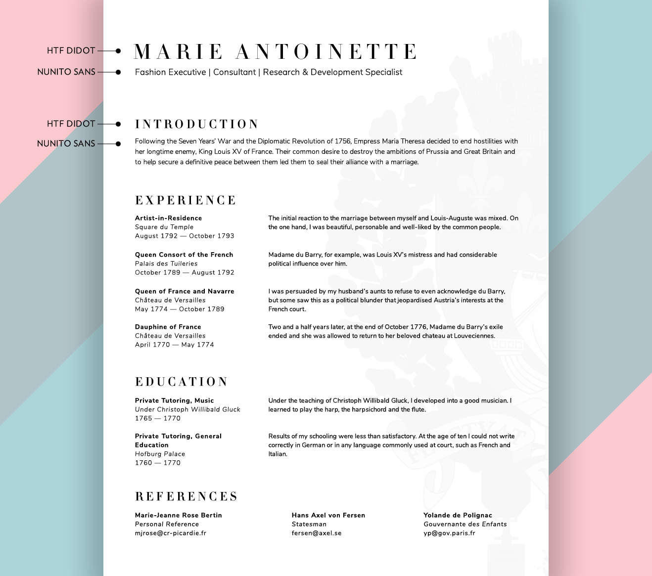 what fonts should i use on my résumé union io